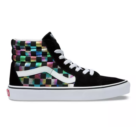 Kids' Vans Sk8-Hi Zip Iridescent Checkerboard