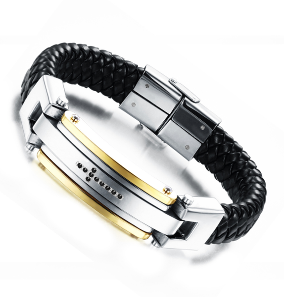 Men's leather steel bracelet