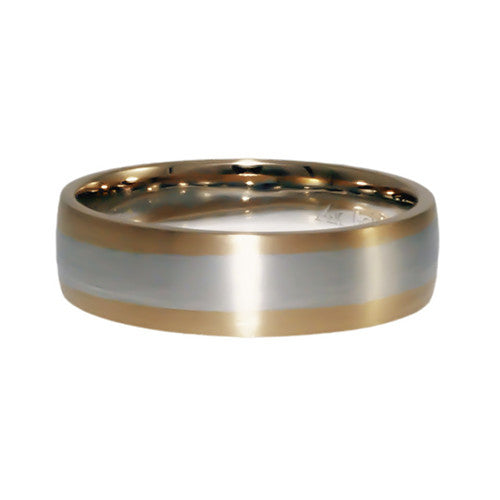 Rose Gold with White Gold wedding band mens horizontal view