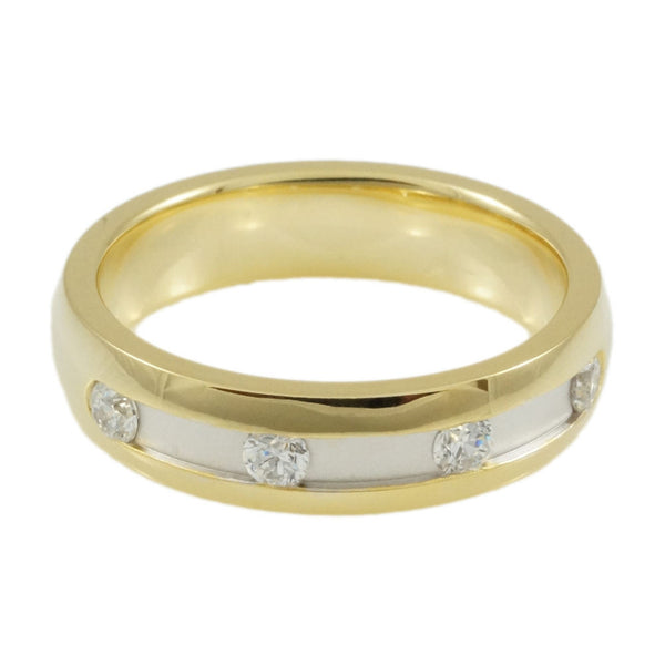 Sterling Silver  CZ & Rhodium & Yellow Gold  Plated  Band Woman Horizontal view