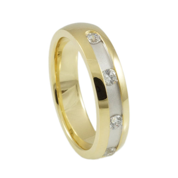 Sterling Silver  CZ & Rhodium & Yellow Gold  Plated  Band Woman vertical view