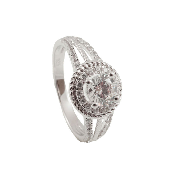 Sterling Silver  CZ & Rhodium Plated  Band Woman vertical view