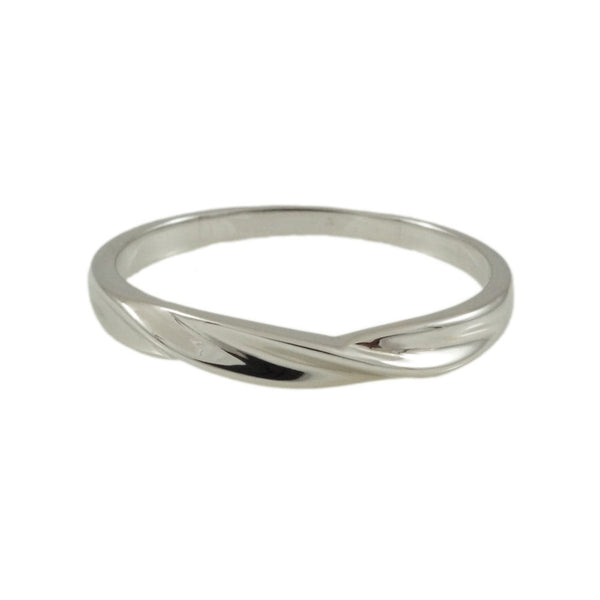 Sterling Silver twisted band High polished Finish horizontal view