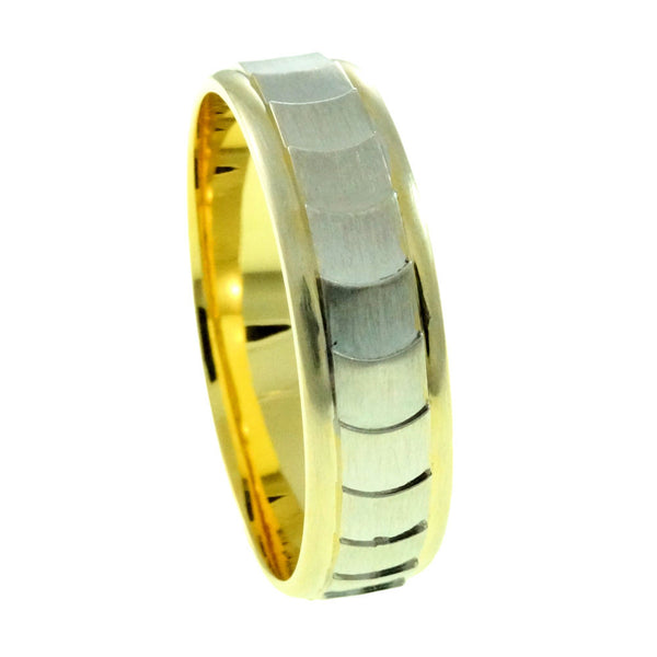 Sterling silver Wedding Band, Gold and Rhodium Plated Man vertical view