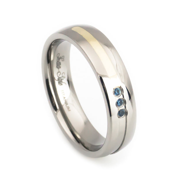 Woman's Titanium Gold Inlay Polish Blue Topaz Wedding Band vertical view