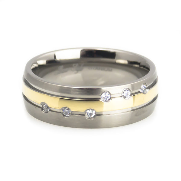 Titanium  Band, Gold plated , 6 stones Inlay Man horizontal view