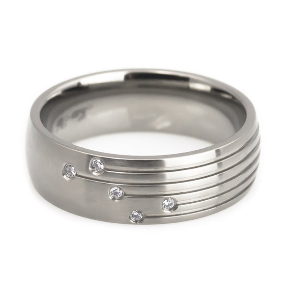 Titanium 5 CZ design High Polish  Ring Man horizontal view