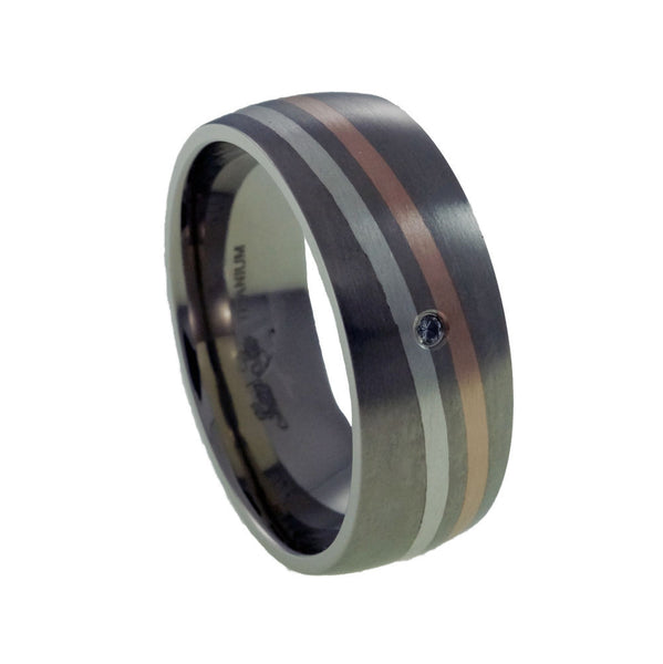 Titanium Ring White Topaz  with Rose Gold and Silver Inlay Man vertical view