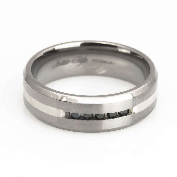 Titanium Silver Inlay, Black Diamond Wedding Band Man horizontal view