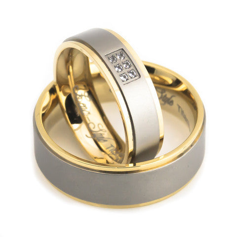 Yellow gold plated diamond satin titanium rings set