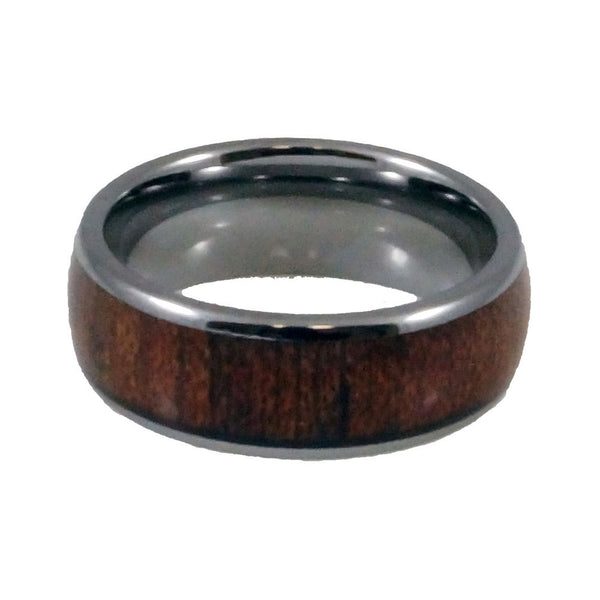 Tungsten  Carbide Ring  Wood Inlay, Doomed Man 8mm horizontal view