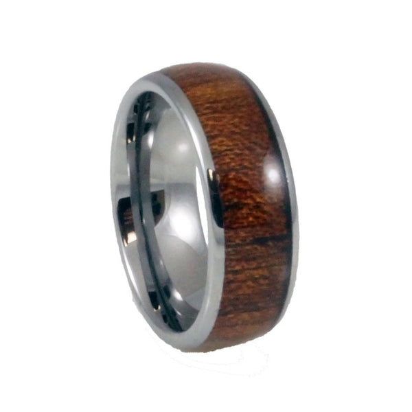 Tungsten  Carbide Ring  Wood Inlay, Doomed Man 8mm vertical view