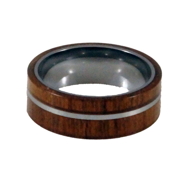 Tungsten  Carbide Wood Ring New Flat Type Man