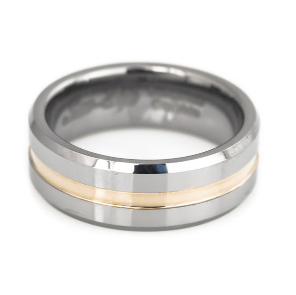 Tungsten  Middle Rose Gold Plated Grooved Band Man horizontal view