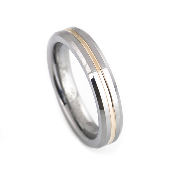Cute tungsten wedding ring with rose gold