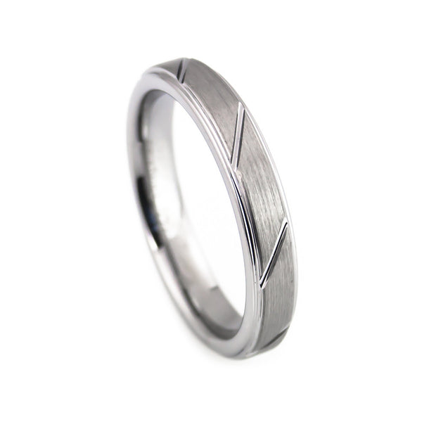 Tungsten Carbide Ring,Brushed Polish, CNC Design Woman vertical view