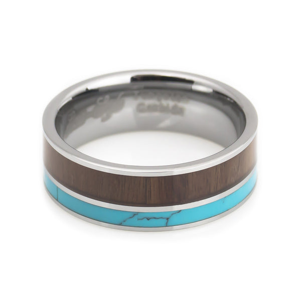 Tungsten Turquoise, Hawaii KOA Inlay Wedding Band 8mm horizontal view