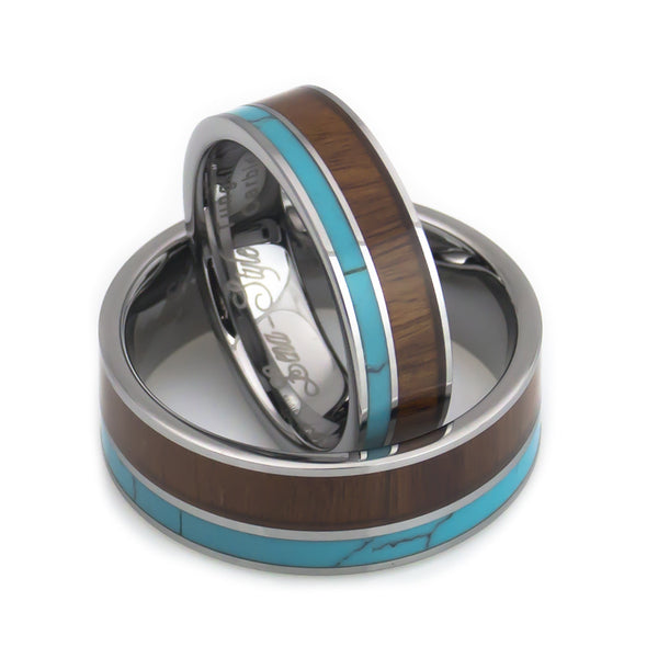 Turquoise and wood wedding bands set