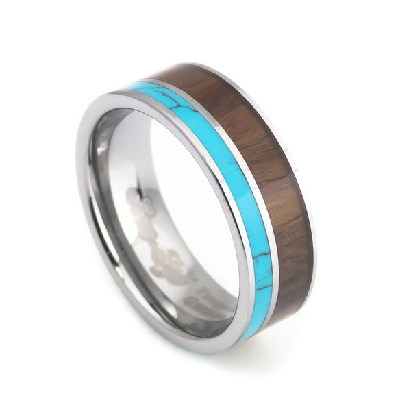 Tungsten Turquoise, Hawaii KOA Inlay Wedding Band 8mm vertical view