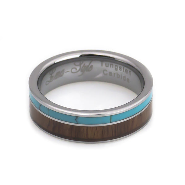 Tungsten Turquoise, Hawaii KOA Inlay Wedding Band-6mm horizontal view