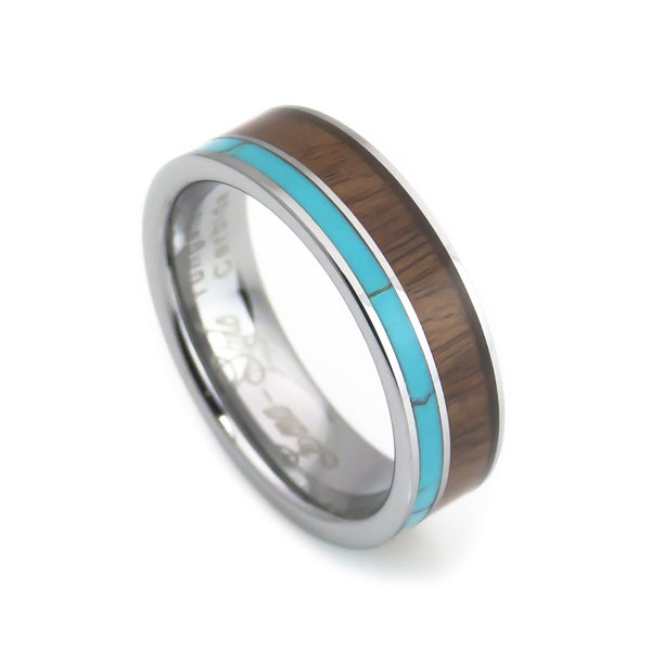 Tungsten Turquoise, Hawaii KOA Inlay Wedding Band-6mm vertical view
