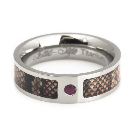 Snake skin inlay with natural ruby