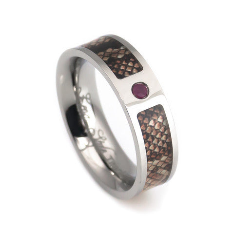 Titanium snake skin with Rubby inlay-Lena Style