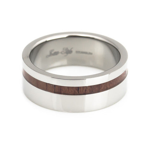 KOA wood stripe titanium ring high polish