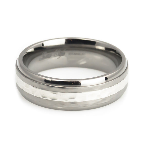 Silver inlay titanium wedding band hammer