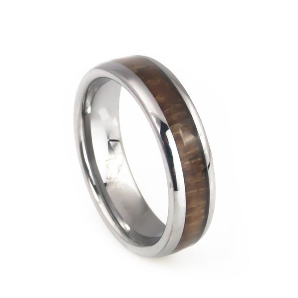 Women's tungsten wedding bands with koa wood inlay dome