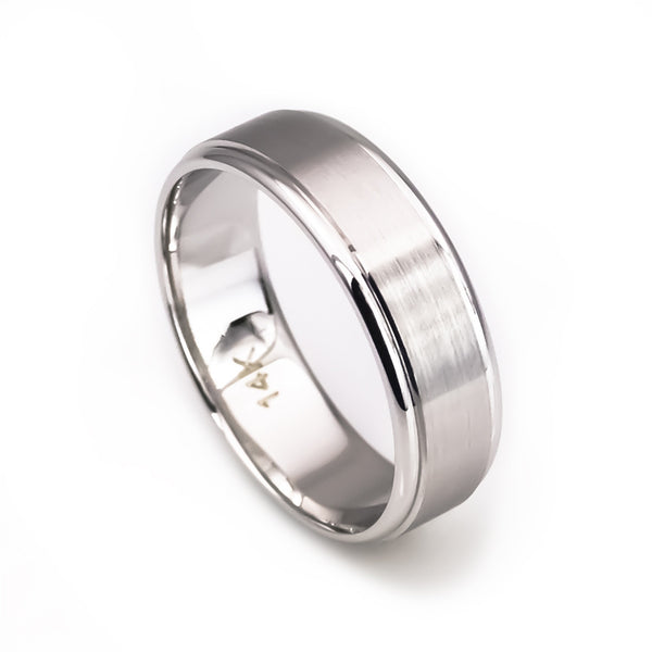14k white gold solid wedding band