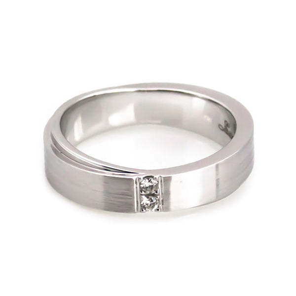 White Gold Diamond Wedding Band hers horizontal view