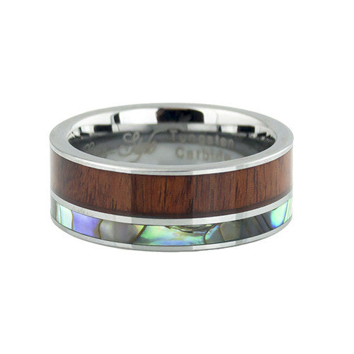 Koa wood inlay tungsten wedding band