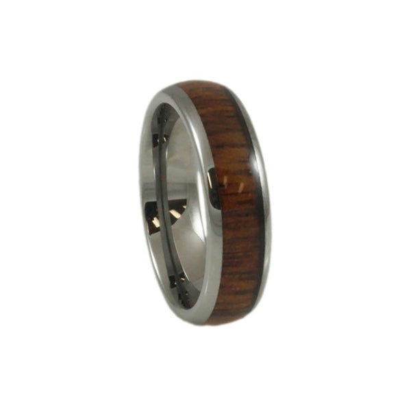 Tungsten  Carbide Ring  Wood Inlay, Doomed Woman 4mm vertical view