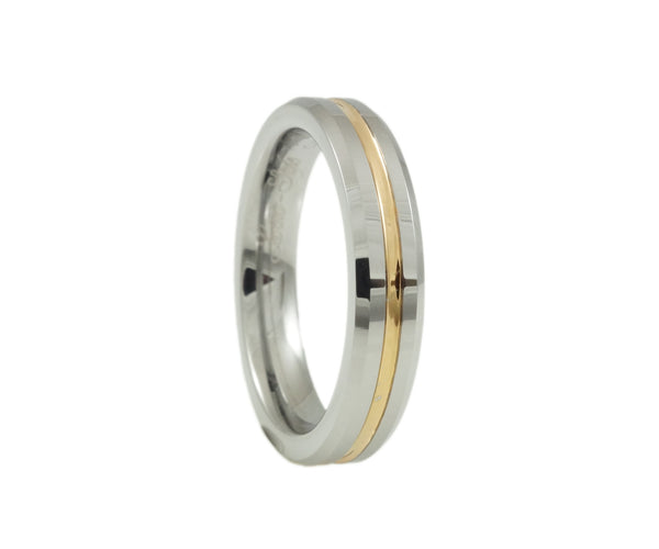 Tungsten Wedding Ring, Middle rose gold plated, Grooved, Woman 4mm