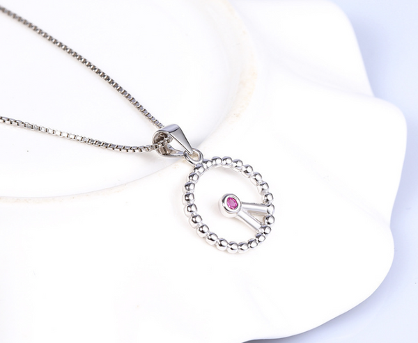 Clock sterling silver necklace