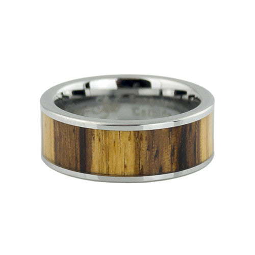 Lena Style Zebra wood inlay tungsten wedding rings