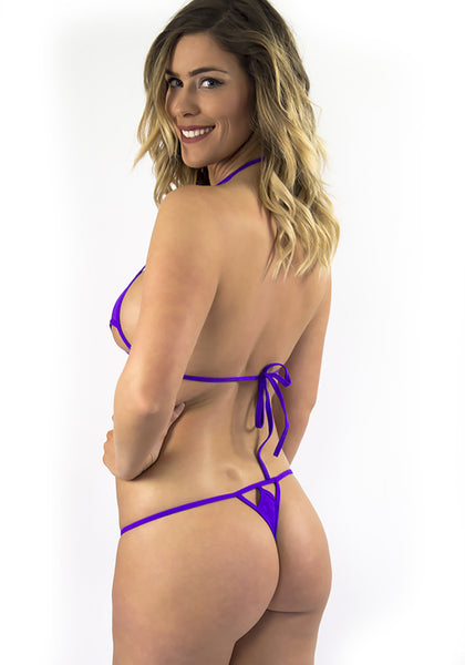Purple Sexy Triangle Micro Bikini
