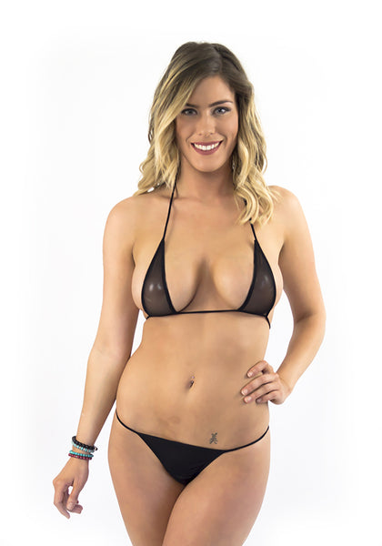 Black Teardrop Sheer Micro Bikini