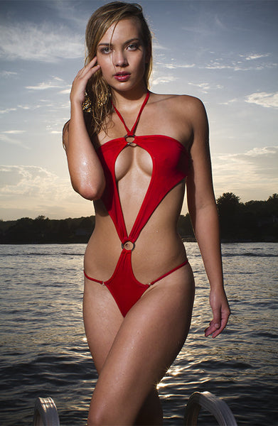 MAW photography model in halter one piece bikini