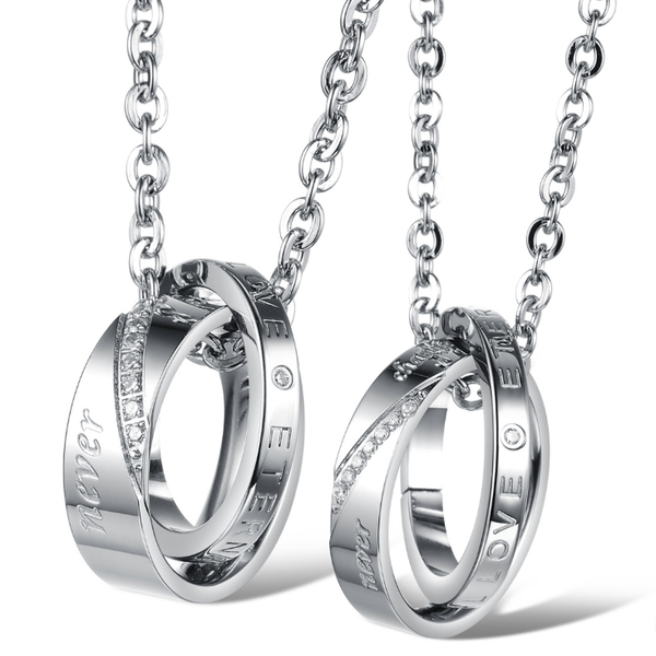 Steel necklace sets for couple-Lena Style