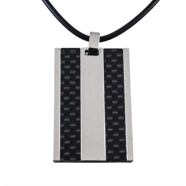 Tungsten Carbide Pendant With Black Carbon Fiber top view
