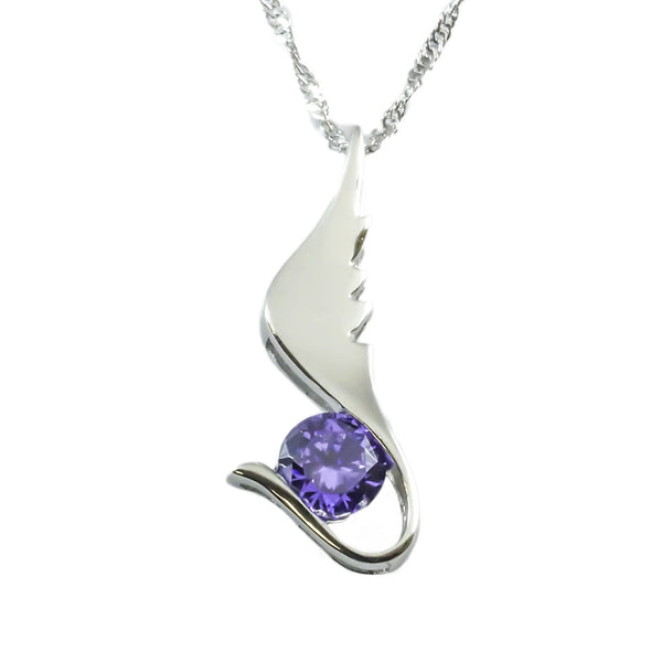 Violet Zircon Sterling Silver Pendant top view