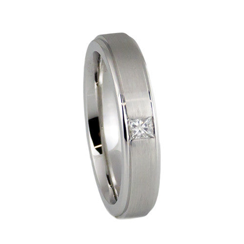 14k white gold classic wedding band with diamond