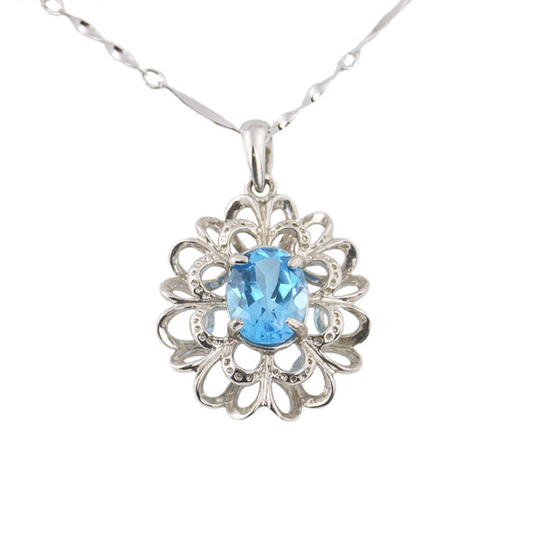 Blue topaz double layer silver necklace
