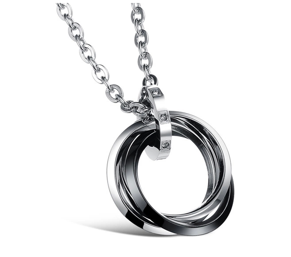 Black and White Stainless Steel Pendant with Necklace