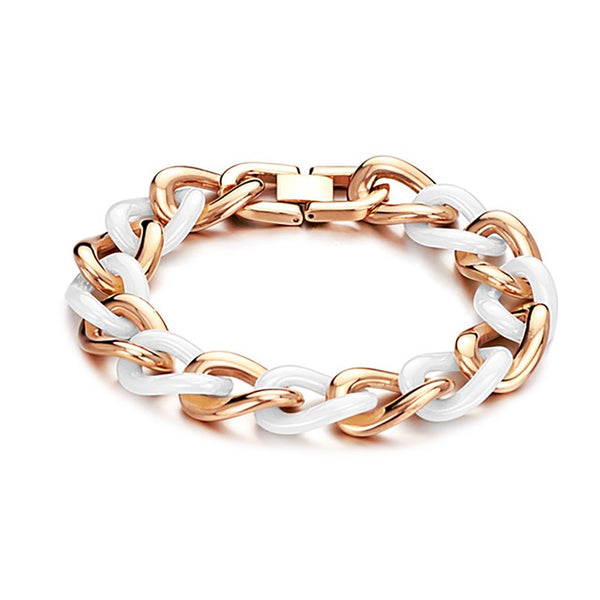 Titanium Rose Gold Plated with Ceramic Bracelet