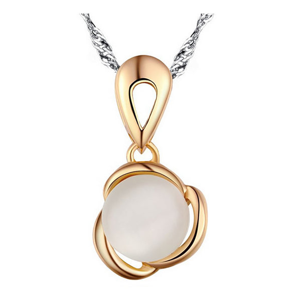 White Catseye Sterling Silver Pendant with Rose Gold Plated
