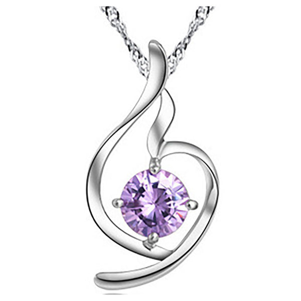 Heart Violet Zircon Sterling Silver Pendant& necklace top view