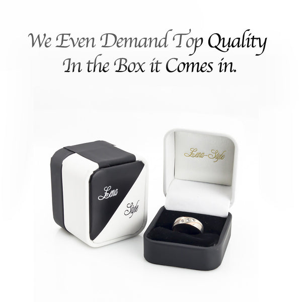 Ceramic Wedding Bands with genuie diamond for Man-Black